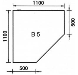 Bodenplatte Eckmodell B5 Glas klar, 6 mm stark