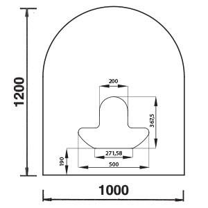 Bodenplatte Rundbogen B3 Rundbogen B3, Glas 6mm für Anschluss unten
