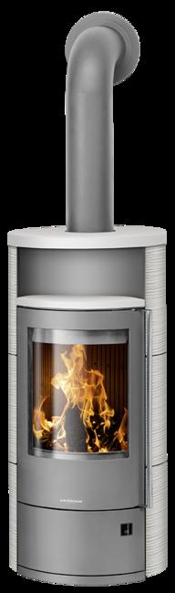 Wood stove Polar Neo 4 Ceramic Silk white, corpus steel grey