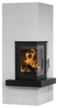 Wood stove set Club (W+) optional Mantel concrete slate, corpus steel black