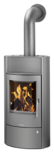 Wood stove Pori Aqua with boiler function Steel grey