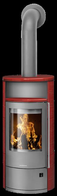 Wood stove Polar Neo 4 Ceramic Pepper red, corpus steel grey
