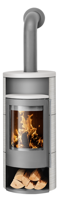 Wood stove Polar Neo 8 Ceramic Silk white, corpus steel grey
