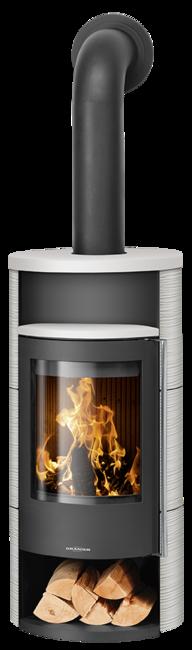 Wood stove Polar Neo 4 Ceramic Silk white , corpus steel black