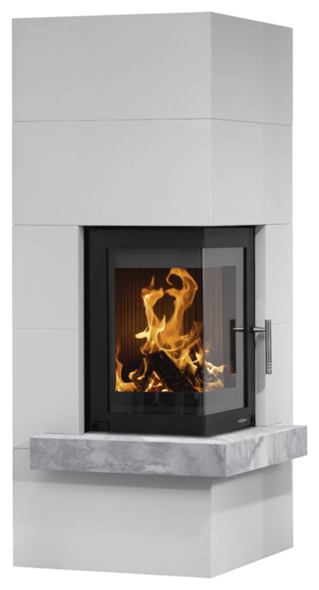 Wood stove set Club (W+) optional mantel natural stone grey, corpus steel black