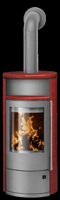 Wood stove Polar Neo 8 Ceramic Pepper red, corpus steel grey