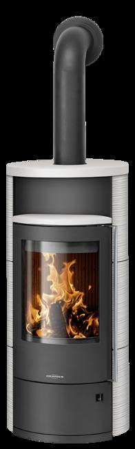 Wood stove Polar Neo 8 Ceramic Silk white, corpus steel black